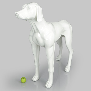 Dog Mannequin Edward - Gloss White