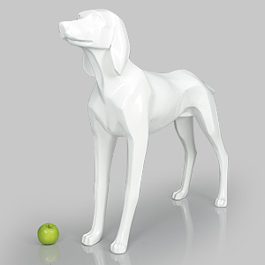 Dog Mannequin Henry - Gloss White